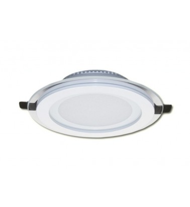 12W LED Šviesos Panelė, 120°, šiltai balta šviesa (stiklinis rėmelis), ∅160mm