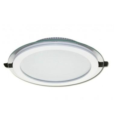 18W LED Šviesos Panelė, 120°, šiltai balta šviesa (stiklinis rėmelis), ∅200mm