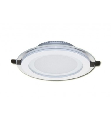 9W LED Panel, 120°, warm white light (glass frame), ∅120mm