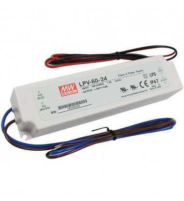 60W Power supply, 24V, Mean Well,IP67