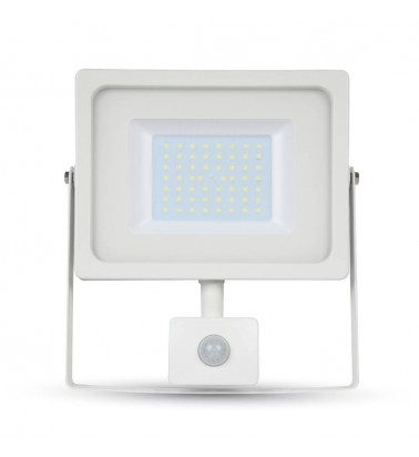 "50W LED Floodlight ""V-TAC"" with motion sencor, 100°, cold white light"