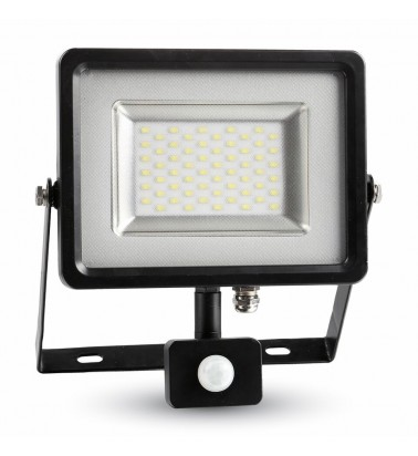 "30W LED Floodlight ""V-TAC"" with motion sencor, 120°, cold white light"