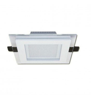 6W LED Panel, 120°, warm white light (glass frame), 100x100mm