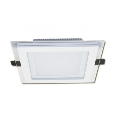 12W LED Panel, 120°, warm white light (glass frame), 160x160mm
